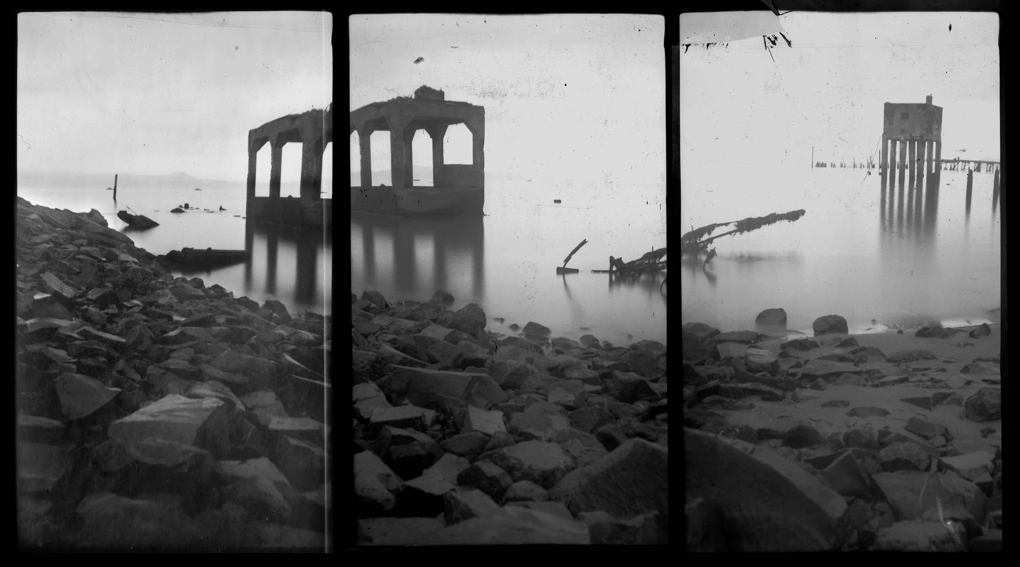 Gothic runs in still water, black and white, b&w, triptych, paper negative